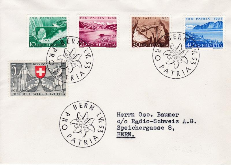 Switzerland 1953 Pro Patria Complete (5) First Day Cover Local Typed Address