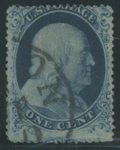 #21 1c 1851 TYPE 3 F/VF USED WITH CROWE CERT CV $1,600 AU1153