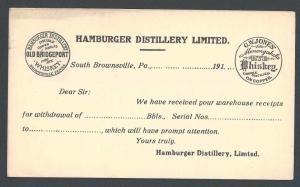 Ca 1917v UX 29 Mint Face Hamburger Distillery Ltd Makes Old Bridgeport Rye---