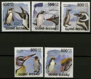 Guiné-Bissau Penguins Birds Ocean Snow Winter Serie Set of 5 Stamps Mint NH