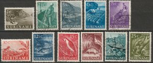 Suriname 1953-55 Sc 253-63 set MLH*/used