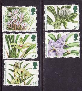 Flowers-Orchids-Great Britain-Sc#1493-7-unused NH set-199