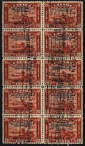 CANADA 1933 Grain exhibition nicely used block of 10.......................35795