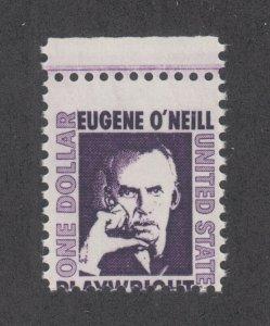 US Sc 1294 MNH. 1965 $1 Eugene O'Neill horizontal MISPERF, ERROR
