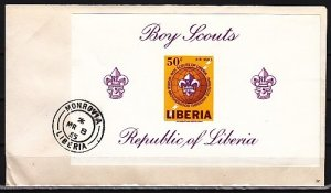 Liberia, Scott cat. C165. Boy Scouts, IMPERF s/sheet on a First day cover. ^