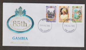 GAMBIA FDC - Queen Mother's 85th Birthday Issue