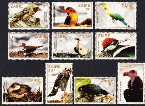 Zaire Birds 10v SG#1133-1142 SC#1091-1100 MI#792-801