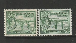 Turks & Caicos islands, 1938/45 1/2d Both ;isted shades MM SG 195 & 195a