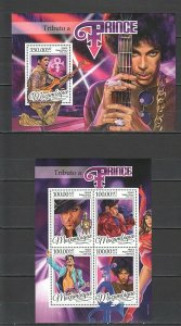 ST2187 2016 MOZAMBIQUE MUSIC  PRINCE ROGERS NELSON 1KB+1BL MNH