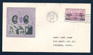 UNITED STATES FDC 3¢ Navy Heroes 1937 Ioor