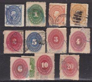 MEXICO ^^^1885-88 x12 used NUMERALS CLASSICS $$@ dcc10mex