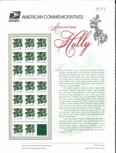 USPS COMMEMORATIVE PANEL #530 AMERICAN HOLLY #3177