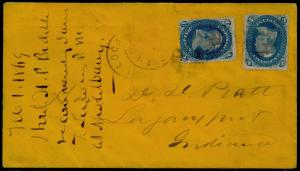 #63b DARK BLUE (2) ON COVER LOCAL SEALED LETTER RATE CV $1,600.00 BQ6340