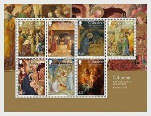 2018    GIBRALTAR  -  CHRISTMAS   -  UNMOUNTED MINT MINI SHEET
