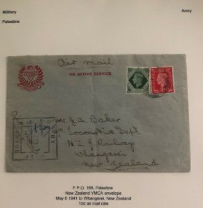 1941 Palestine British Field Post Active Service Cover To Whangerei New Zealand