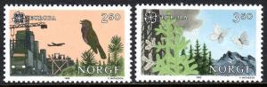 Norway 892-893, MNH. Europa.Nature protection: Bird, Axid rain, Butterflies,1986
