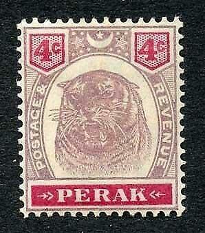 Perak SG69 4c dull purple and carmine M/M Cat 24 pounds