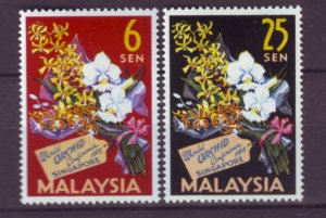 J21963 Jlstamps 1963 malysia set mh #4-5 flowers