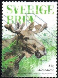Sweden 2786b - Used - (6.50k) European Elk (Moose) (2016) (cv $1.40) (2)