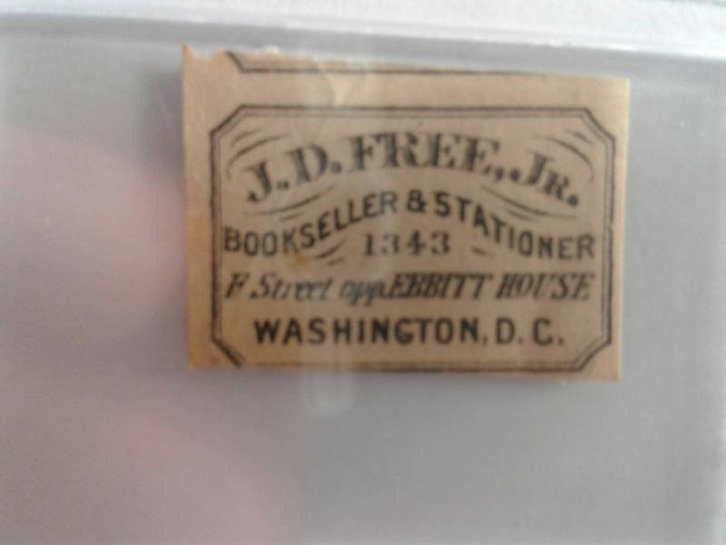 LOCAL STAMP J.D. FREE, JR. BOOKSELLER AND STATIONER WASHINGTON DC 1800'S !! RARE