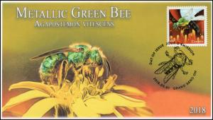 CA18-019, 2018, Bees, Metallic Green Bee, Day of Issue, FDC,