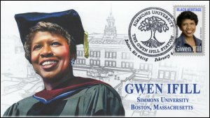 20-026, 2020, Gwen Ifill, Pictorial Postmark, Event Cover, Simmons University,