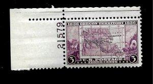 US Sc# 783 3 cent Oregon Territory  Mint LH - Plate # - Crisp Color