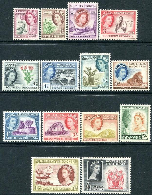 SOUTHERN RHODESIA-1953 Set to £1 Sg 78-91 LIGHTLY MOUNTED MINT V28235