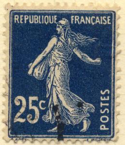 FRANCE - 1907 - Yv.140/Mi.119ax 25c bleu-noir intense Type 1A - Oblitéré TB