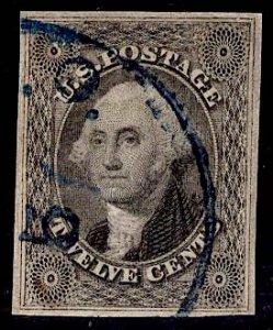 US Stamp #17 12c Washington USED SCV $250. 4 Full Frame Lines!!!