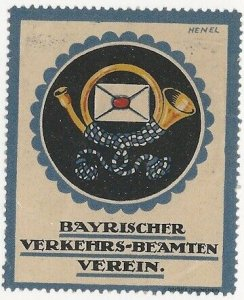 Bavarian Traffic Officer Society, Germany, Early Poster Stamp, Cinderella Label