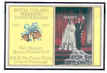 Jersey Sc  824 1997 Golden Anniv QE II & Pr Philip stamp sheet mint NH
