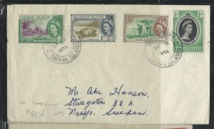 CAYMAN ISLANDS COVER (PP1804B) 1958 QEII 1/2D+1+1 1/2D+CORONATION COVER TO SWEDE