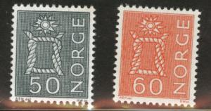 Norway Scott 465-466 MH* 1968 and 1971 Knot stamps short set