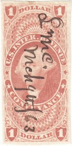 Scott # R66a - Revenue stamp - $1 Conveyance, red - Used - SCV - $27.50