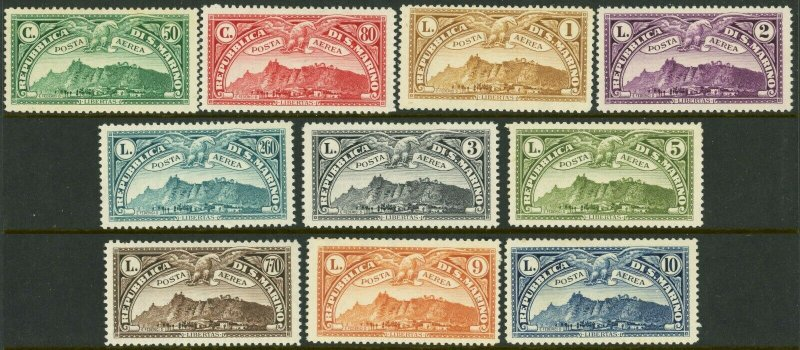 SAN MARINO #C1-C10 Air Post Airmail Postage Stamp Collection EUROPE 1931 Mint LH