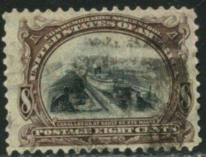 US Sc#298 1901 8c Canal Locks Pan-American F-VF & Sound Used