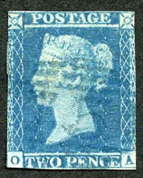 1841 2d Blue (OA) cancelled with a 1844 postmark in BLUE SG14h Cat 1000 pounds