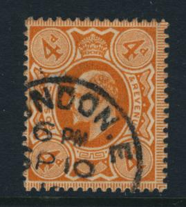 GB - KEVII 1911/2 SG M27(1)/SG286 4d BRIGHT ORANGE p15x14 (Harrison) SUPERB USED