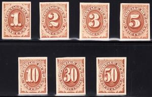 #J1P4-J7P4 COMPLETE SET OF POSTAGE DUE XF-SUPERB PLATE PROOFS ON CARD BT5768