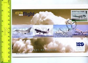 242094 BRITISH VIRGIN ISLANDS 100 years of FLIGHT PLANES 2003 year FDC
