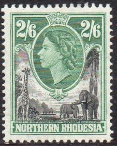 Northern Rhodesia 1953  2/6d black and green MH