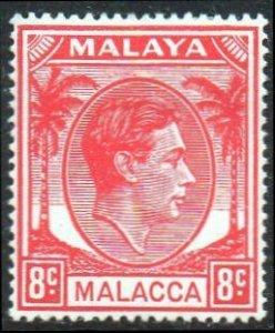 Malacca 1949 8c scarlet MH