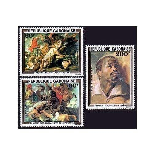 Gabon C199-C201,MNH.Michel 643-645. Peter Paul Rubens,1977.Hippo,Crocodile,Dogs,