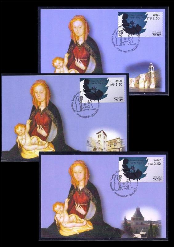 ISRAEL STAMP 2018 2019 CHRISTMAS NOEL 3 ATM ALL MACHINE LABEL MAXIMUM CARD