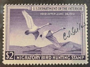 US Stamps #RW17 Used Federal Ducks #RW17A157