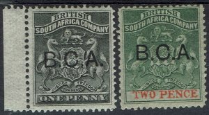 BRITISH CENTRAL AFRICA NYASALAND 1891 ARMS OVERPRINTED 1D AND 2D