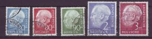J21658 Jlstamps 1954-60 germany better used #712,717-8,720-1 heuss