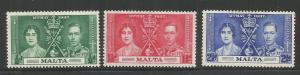 MALTA, 188-190, MINT HINGED HINGE REMNANT, CORONATION ISSUE