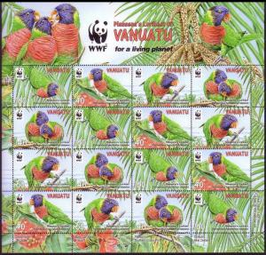 Vanuatu Birds WWF Rainbow Lorikeet sheetlet of 4 sets SG#1094-1097 MI#1443-1446